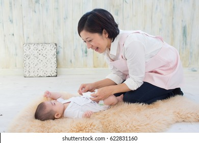asian baby and mom