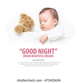 Asian Baby sleeping with her teddy bear with wording good night dream beautiful dreams, New family and baby protection from mom concept