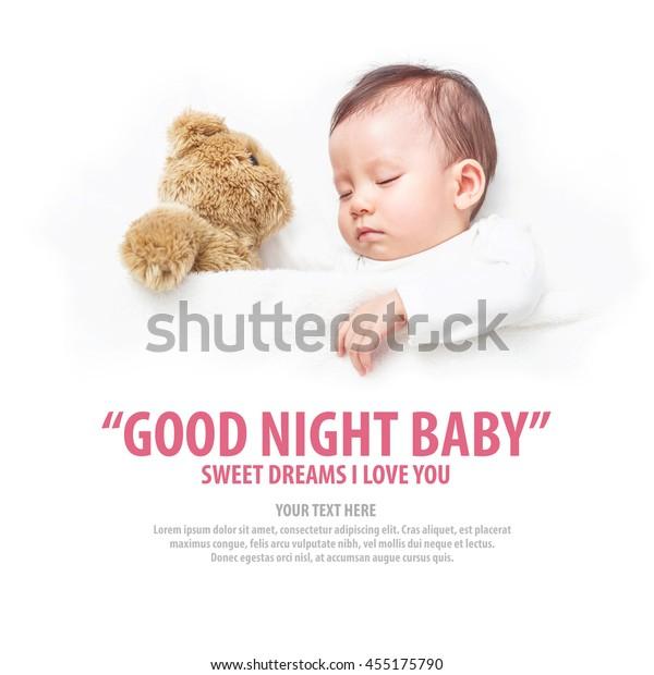 Asian Baby Sleeping Her Teddy Bear Stock Photo (Edit Now) 455175790