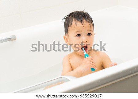 Asian Baby Uses Toothbrush Bathroom Stock Photo Edit Now 635529017