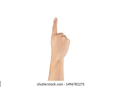 Asian back back hand shows and counts 1 (one) sign on finger on isolated white background. Clipping path