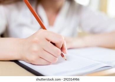 Asian beautiful female student study portrait in classroom