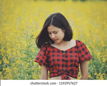 Asian beautiful girl portrait in flower field yellow and green background