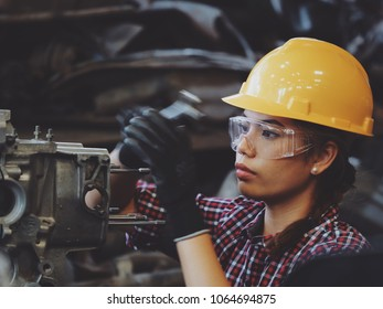 Asian beautiful girl working in industry engineering or working woman concept