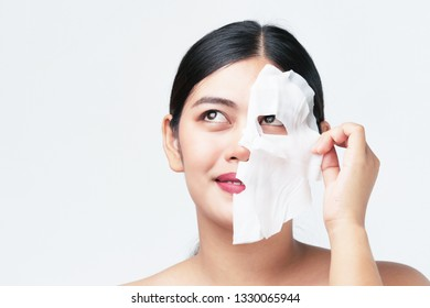 Asian beautiful woman close up face cosmetic skin care concept on white background