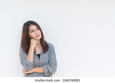 Asian beautiful woman no have ideas for work,worry woman concept,Thailand people