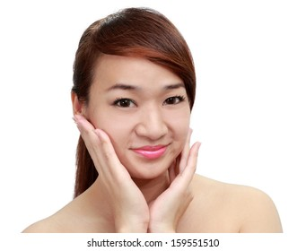 Asian beautiful woman touch her clean face isolated