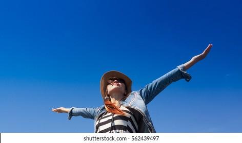 Asian beautiful women  feeling freedom blue sky background