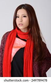 Asian beauty, closeup portrait.