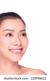 Asian beauty face closeup portrait with clean and fresh elegant lady in studio white background.