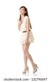 Asian beauty, full length portrait isolated on white background.