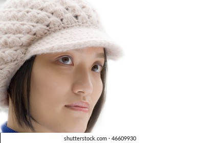 Asian beauty portrait with white had isolated.