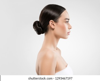 Asian beauty woman healthy skin over white background beautiful female