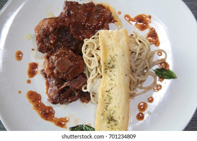asian beef oxtail food with spaghetti