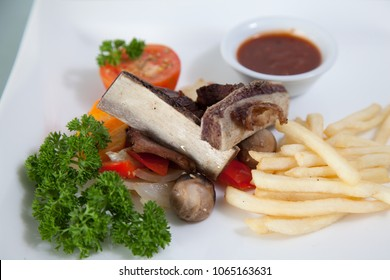 asian beef ribs grilled with french fries
