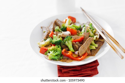 asian beef stir fry with copyspace