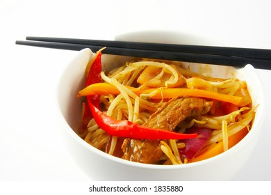 Asian beef and vegetable stir fry - detail