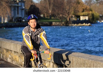 Asian bicycle rider taking the training, travel by bicycle