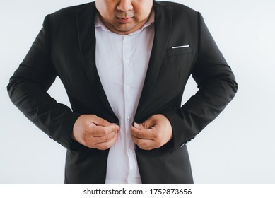 Asian big fat overweight men in suit isolated on white background.