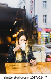 Asian Blond Girl Coffee and Phone