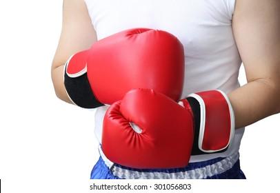Asian boxer isolated on white background, Thai boxing