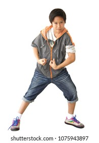 Asian boy 10 years old, black hair with light brown skin in standing position on white background.