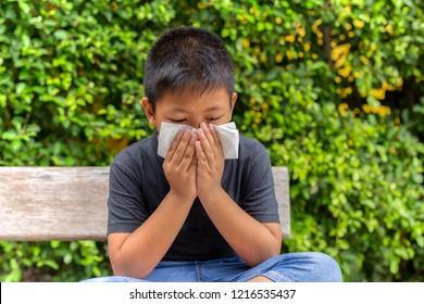 Asian boy blow his nose into with tissue in garden, Flu season, Hay fever.