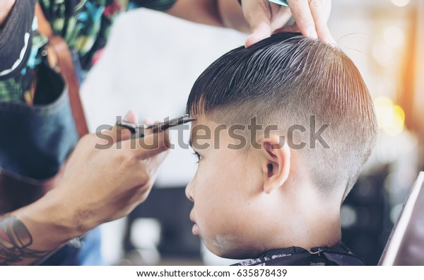 Asian Boy Doing Hair Cutting Barber Stock Photo (Edit Now