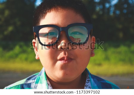 4d7b19621303 Asian Boy Fat Man Wearing Glasses Stock Photo (Edit Now) 1173397102 ...