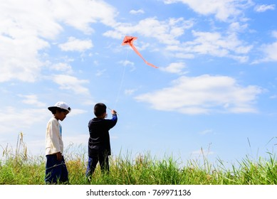 Asian boy and girl playing on the grass field on blue sky background.Happy little children flying kite.
