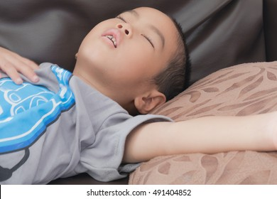 Asian boy had trouble breathing and snoring concepts