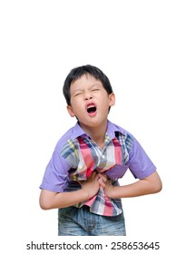 Asian boy have stomachache  over white background