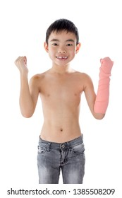 Asian boy injured in the arm with happy