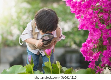 Asian boy with magnifying glass outdoors