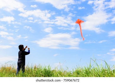 Asian boy playing on the grass field and blue sky background.Happy little children flying kite.