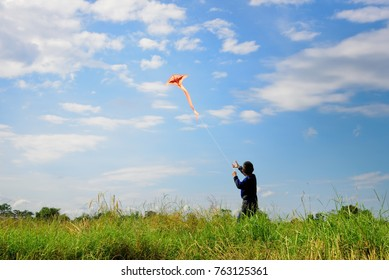 Asian boy playing on the grass field on blue sky background.Happy little children flying kite.