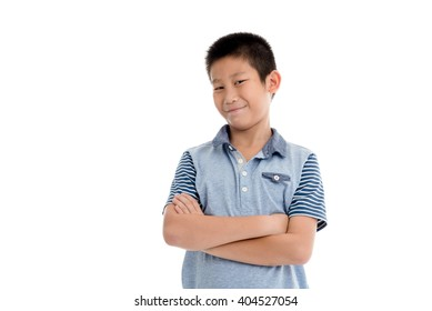 Asian boy posting on white background.