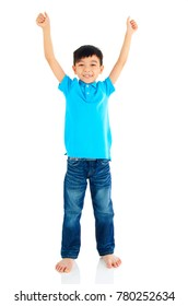 Asian boy raised his hands