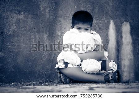 asian boy sad alone teddy bear stock photo edit now 755265730
