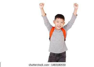 Asian Boy School kid Hand up with backpack  Half Body isolated on White background.frantic.excited.COPY SPACE