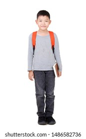 Asian Boy School kid holding book Hand up with orange backpack. Full Body isolated on White background.frantic.excited.