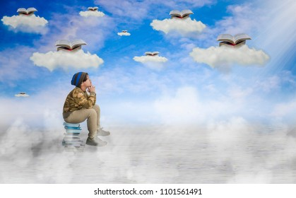 Asian boy, sitting on a pile of books, looking at the sky,  with a never-ending learning concept.