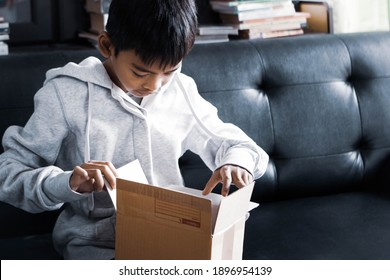 Asian Boy is sitting on sofa and looking inside box while opening the mail box that just delivery to home