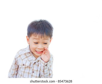 asian boy telling secret on white background