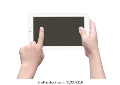 Asian boy's hand pointing on screen of tablet computer