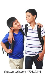 asian boys having conversation.white background