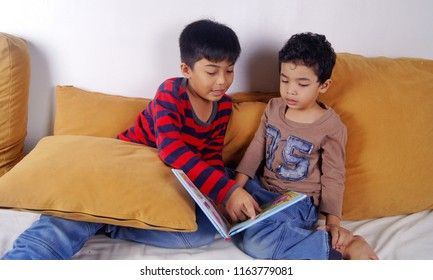 Asian boys sibling reading book together indoor