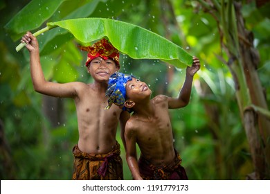 Asian boys teens laughing outdoors romance friendship love in the rain. Happy face and beautiful nature.