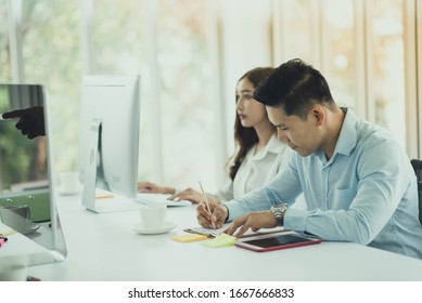 Asian business coworker people talking in the meeting room