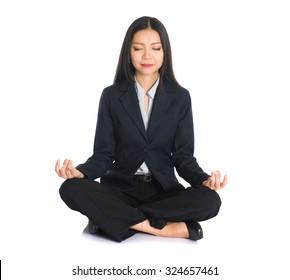 asian business female yoga